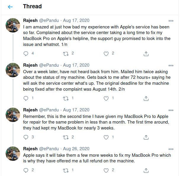 Reference: Bad after service by Apple in India (Credits : Rajesh Pandey (https://twitter.com/ePandu)